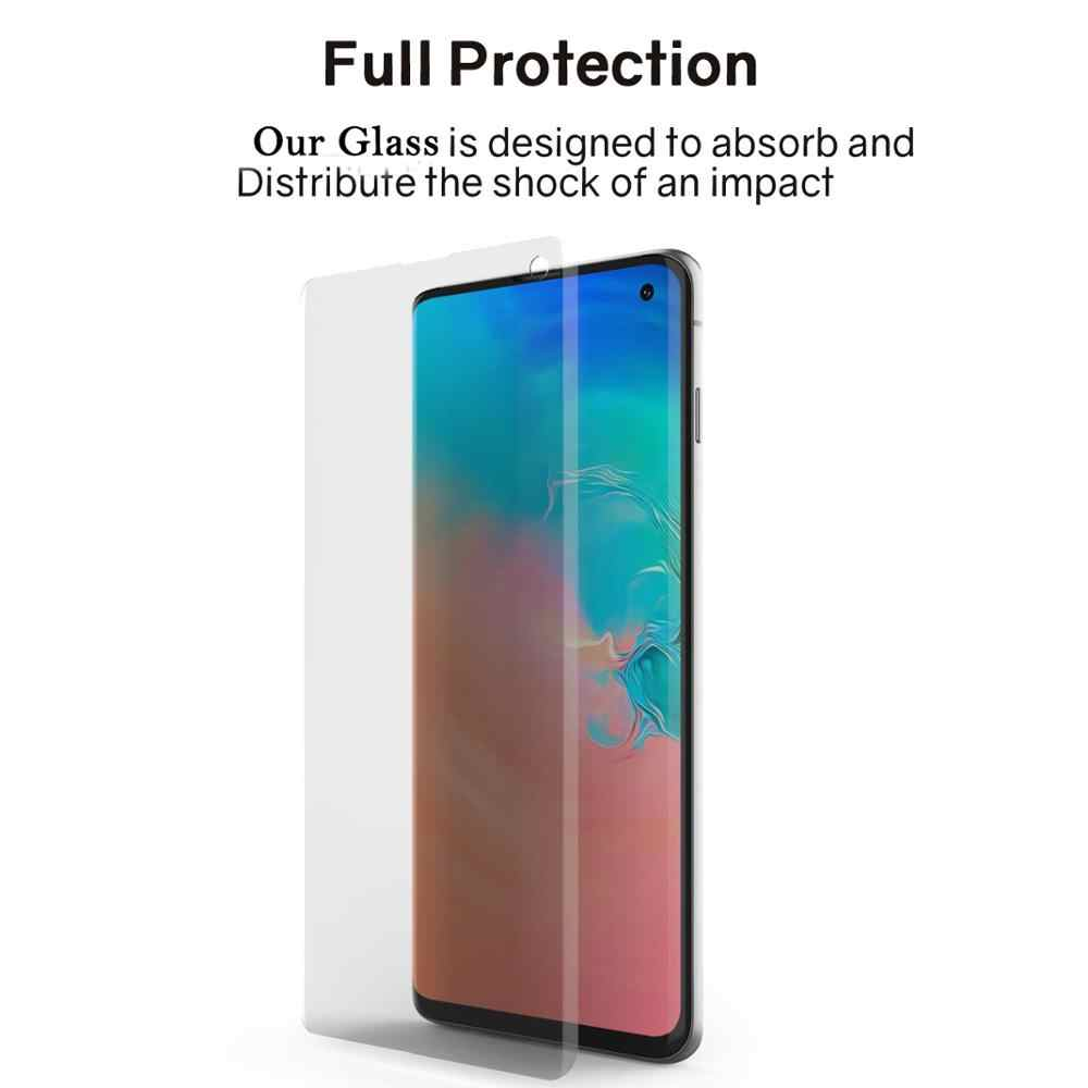 100D UV Tempered Glass untuk Samsung Galaxy S20 S10 S8 S9 Plus Nano Liquid Screen Protector untuk Samsung Note 10 pro S7 Tepi Kaca