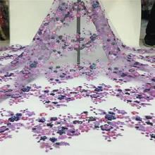 Африканская французская кружевная ткань с бисером нигерийская кружевная ткань фиолетовая африканская Кружевная Ткань 5 ярдов tull кружевная африканская ткань PL-E171