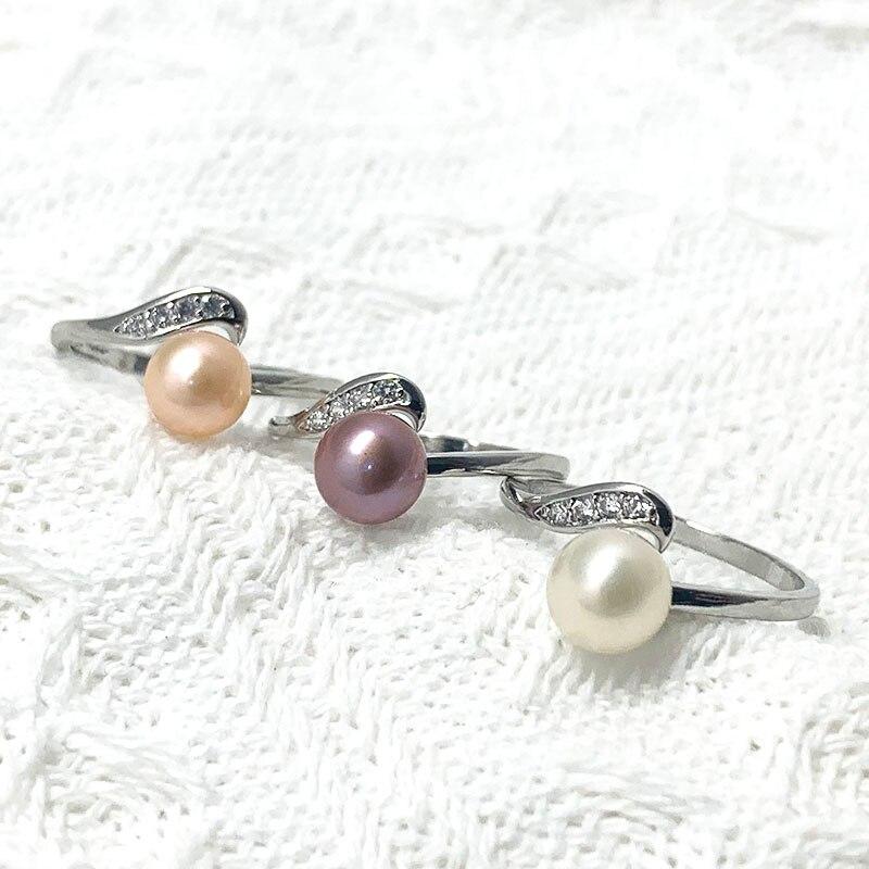 Кольца с пресноводным жемчугом женские, серебристые кольца с регулируемым натуральным камнем, подарок на день рождения вечерние Вечерний П...