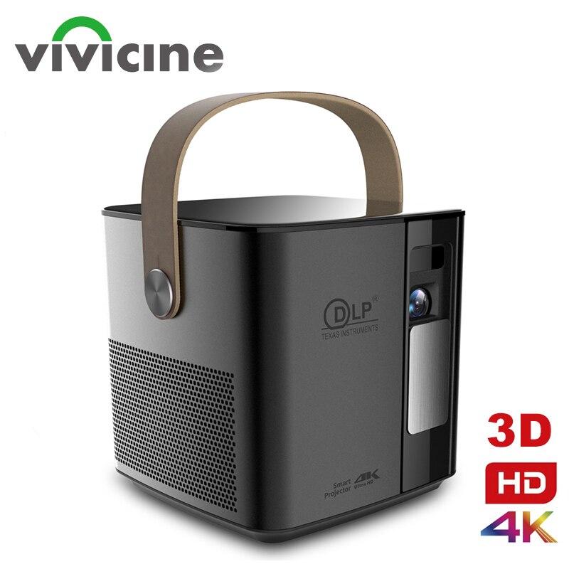 Vivicine original p12 suporte 4 k 3d projetor de cinema em casa, 1080p hd jogo de vídeo proyector beamer com bateria 12000 mah