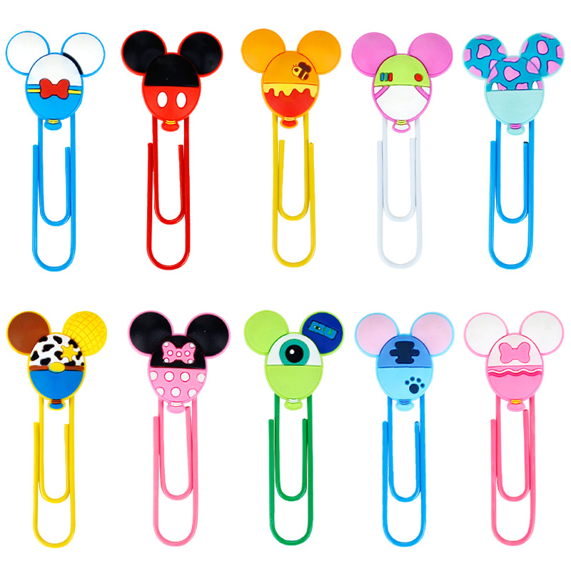 Disney Mickey Minnie Balloon Shape Paper Clip Cartoon Bookmark School Supplies DIY Decoration For Kids Gifts Kawaii