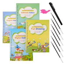 2021 4 Books + Pen Reusable 3D Magic Exercise Book Children 0-10 Writing Stickers Calligraphy English Numbers Montessori Toys