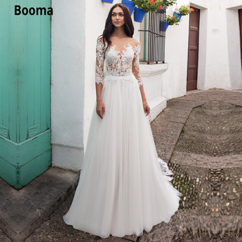 Booma 3/4 Sleeve Ivory A-line Wedding Dresses Top Lace Appliques Soft Tulle Bridal Gown with Sweep Train Beach Boho Wedding Gown фото