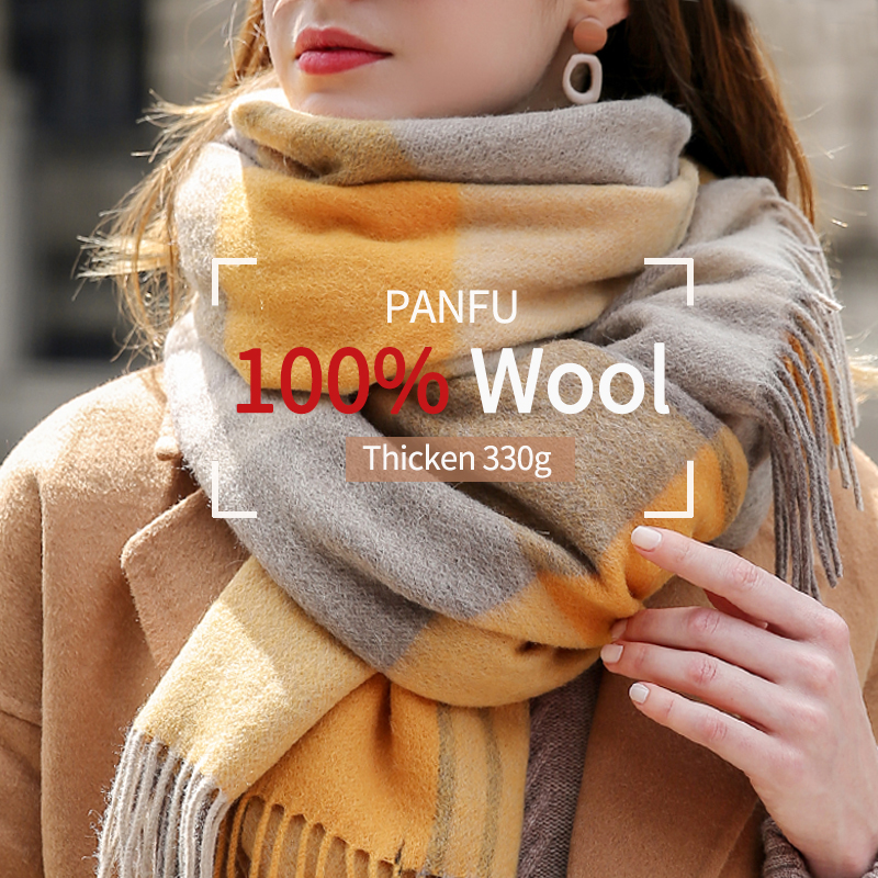 Ladies 100% Wool   Scarf   for Women Brand 2019 Thicken Warm Shawls and   Wraps   Plaid Echarpe Pashmina Winter Wool   Scarves   Foulard