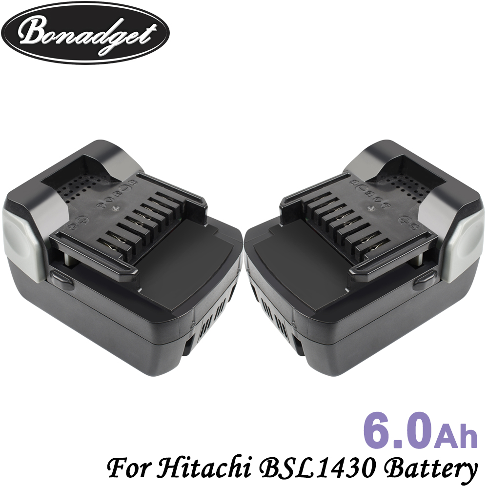 Bonadget Chargeable 6000mAh 14.4V Batteria Rechargeable Battery For Hitachi BSL1430 BSL1415 C14DSL CD14DSL Power Tools Battery