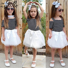 ZAFILLE Summer Dress For Girl Toddler Off Shoulder Patchwork Striped Baby Clothes Infant Tutu Cute Kids Cloth