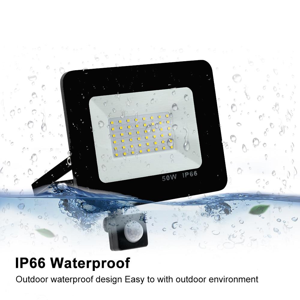 220V Motion Sensor LED reflector foco exterior IP66 Waterproof Outdoor Wall Security Daylight Flood Light Garden projecteur exte|Street Lights| |  - title=