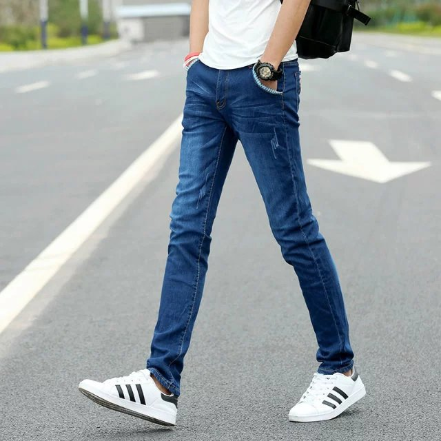 Summer Youth Men Fashion Casual Trend Slim Fit Jeans 2018 Korean-style New Style Students Simple Versatile Pants