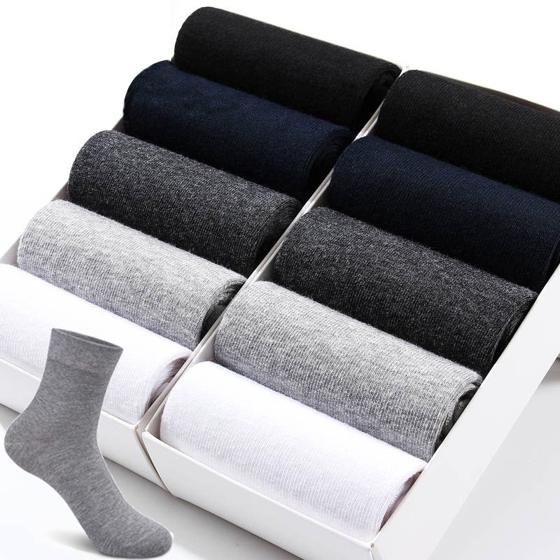 10 Pairs /Lot Cotton Socks For Men Dress Socks Black Business Warm Socks Men Meias Breathable Autumn Winter Male Gift Size 39-44