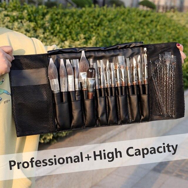 24 Pockets Black Multi-function Makeup Brushes Bag Professional Cosmetic Tools Storage Holder for Brushes dlya kistey organayzer 2