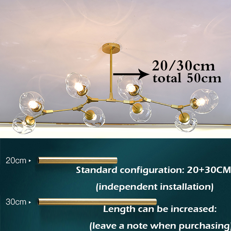 lowest price Ditoon chandelier Postmodern Living Dining Room Led chandelier Glass Ball Design Lampchandelier Steel Pipe Lamp
