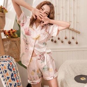 Image 5 - Conjunto de Pijamas cortos de primavera y verano para mujer, camisas de manga corta con pantalones, traje para casa, ropa femenina para mujer, pijamas sexis