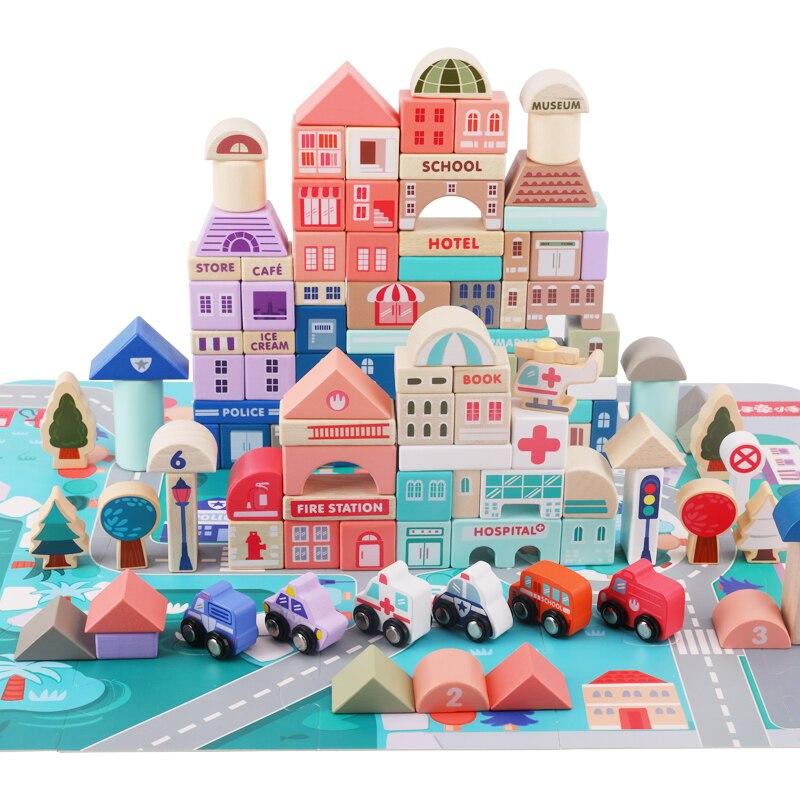 115 pces criancas brinquedos de madeira cidade 01