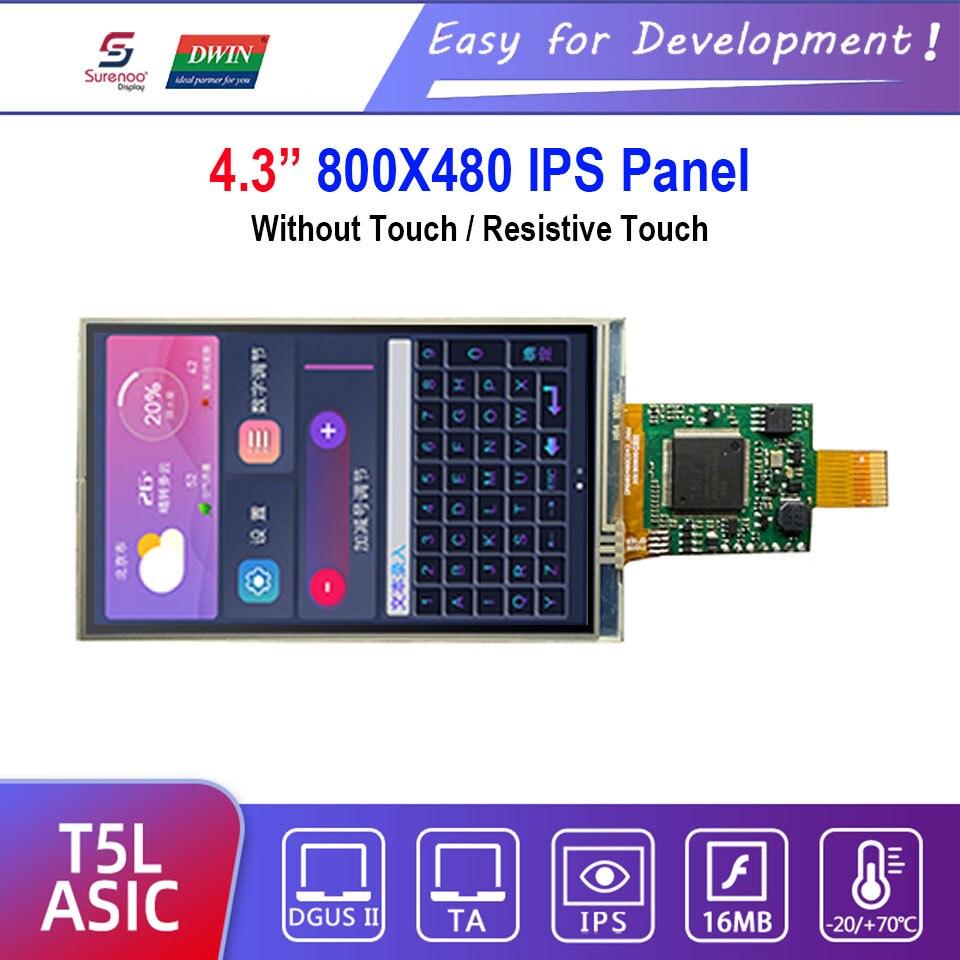 """Dwin T5L HMI Intelligent Display, DMG80480C043_06W 4.3"""" IPS 800X480 LCD Module Screen Resistive Touch Panel"""