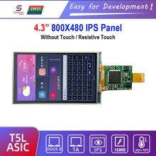 "Dwin t5l hmi display inteligente, dmg80480c043_06w 4.3 ""ips 800x480 painel de toque resistive tela do módulo lcd"