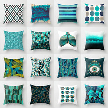 Moderno verde azulado azul geométrico funda de almohada nórdica hogar de moda almohada decorativa poliéster algodón sofá coche funda de almohada para silla