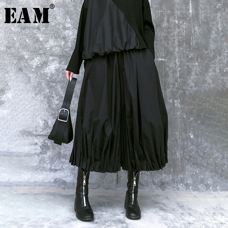[EAM] High Elastic Waist Black Pleated Split Wide Leg Trousers New Loose Fit Pants Women Fashion Tide Spring Autumn 2020 1R456