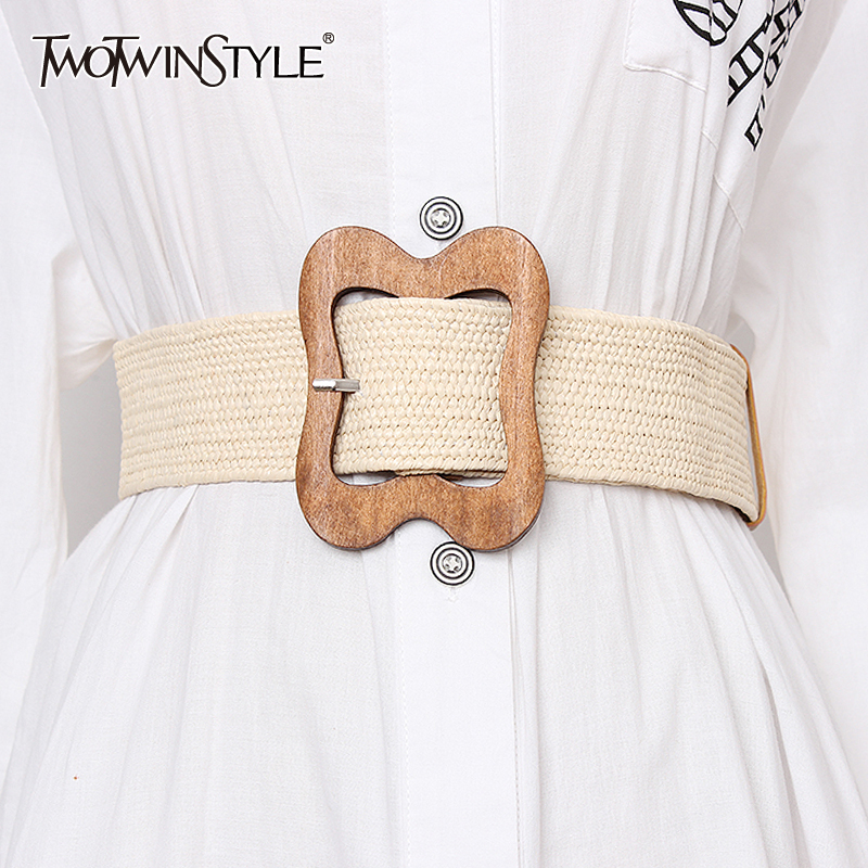 TWOTWINSTYLE High Waist Slim Belt For Women Striped Wide Belts Vintage Dresses Accessories Female 2019 Summer Fashion New