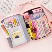JIANWU 1 adet kore yaratıcı kırtasiye çantası kızlar ve erkekler için yüksek kapasiteli kalem çantası kalem kutusu okul ofis malzemeleri kawaii