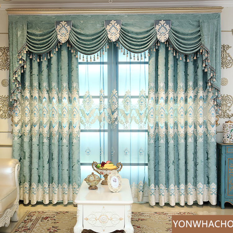 Custom curtains Living room Chenille jacquard European laser embroidery blue cloth blackout curtain valance tulle panel C005