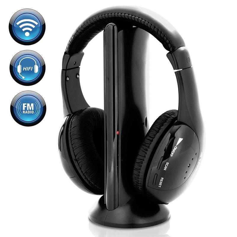 Беспроводная гарнитура 5 в 1, беспроводные наушники с радиочастотным микрофоном для ПК, ТВ, DVD, CD, MP3, MP4, гарнитура