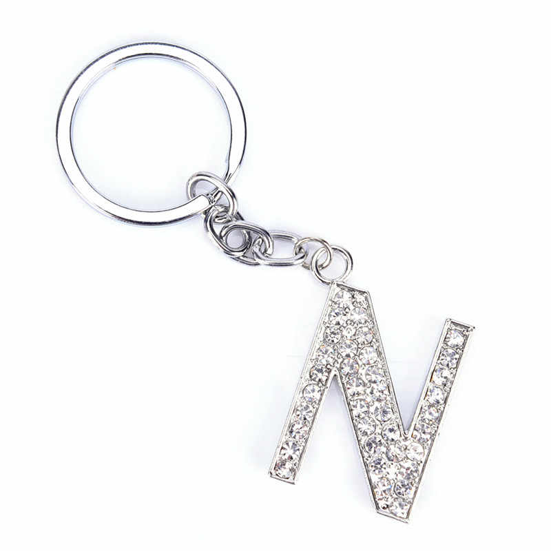 1pc litery moda nowy kryształ Rhinestone alfabet brelok pierwsza litera brelok do kluczy Unisex brelok