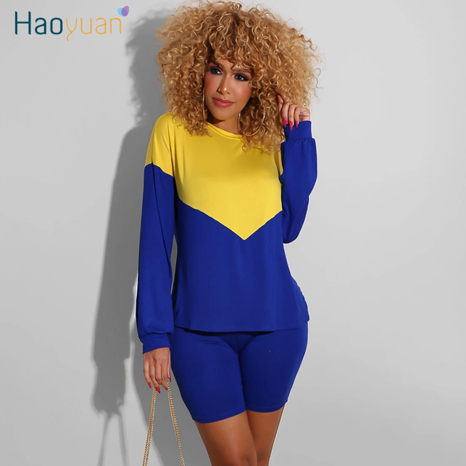 HAOYUAN Two Piece Set Tracksuit Women Summer Clother Long Sleeve Top And Biker Shorts Sweat Suits 2 Piece Outfits Matching Sets