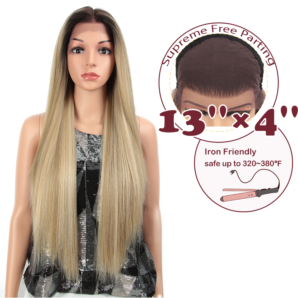 """MAGIC 13X4 Lace Front Wig For Black Women Long 32""""Inch Heat Resistant Straight Wigs Blonde Natural Synthetic Wigs Cosplay Hair"""