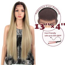 """цена на MAGIC 13X4 Lace Front Wig For Black Women Long 32""""Inch Heat Resistant Straight Wigs Blonde Natural Synthetic Wigs Cosplay Hair"""
