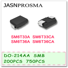 JASNPROSMA 200PCS 750PCS DO214AB SMB SM6T33 SM6T33A SM6T33CA SM6T36 SM6T36A SM6T36CA UNI BI SMD di Alta qualità TV SM6T