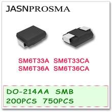 JASNPROSMA 200PCS 750PCS DO214AB SMB SM6T33 SM6T33A SM6T33CA SM6T36 SM6T36A SM6T36CA UNI BI SMDคุณภาพสูงทีวีSM6T