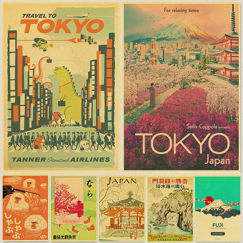Visit Japan Tokyo Travel Posters Art Paintings Vintage Wall Pictures Kraft Paper Print Wall Stickers Home Room Decoration Gift