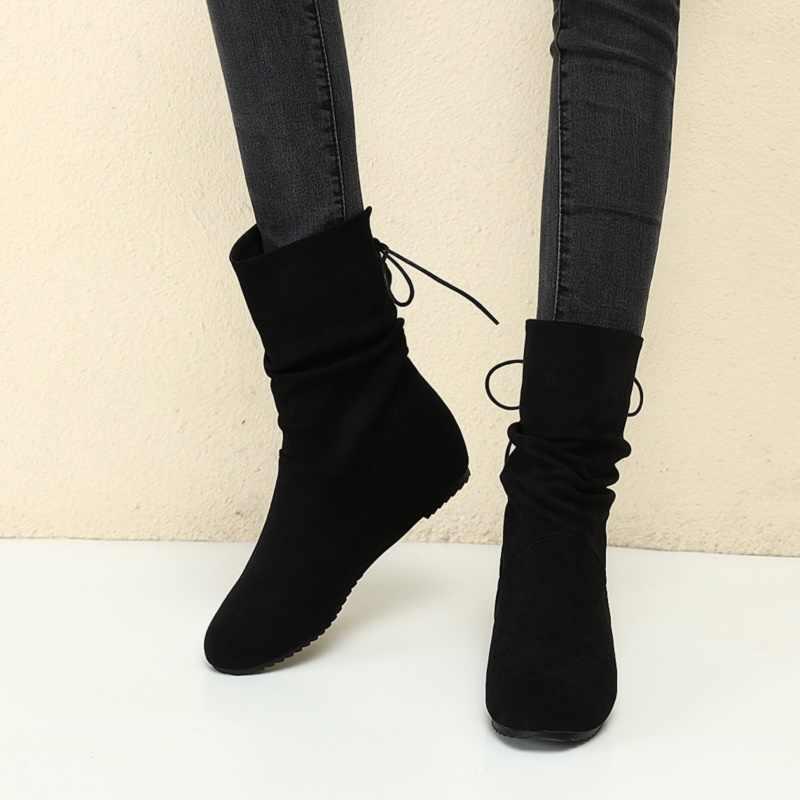 EGONERY 2019 kış yeni sıcak orta buzağı çizmeler dışında orta topuk yuvarlak ayak çapraz bağlı akın kadın ayakkabı damla kargo boyutu 32-43
