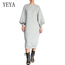 YEYA Women Loose Casual Female Autumn Long Sleeve Solid Maxi Dress Elegant O-neck Hollow Out Ladies Office Work Dresses Robe ramadan autumn new middle east muslims women fashion loose robe o neck knitted long sleeve maxi casual lady long dresses