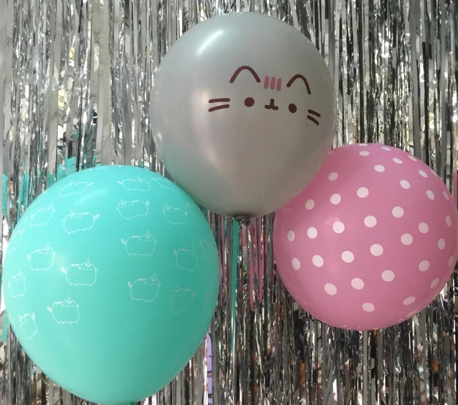 10 шт./лот Tiffanyblue Grey Cat Воздушные шары 12 дюймов Catoon вечерние Pushen Cat Pink Dots Kit милые латексные шары на день рождения, реквизит для фотографий, игруш...