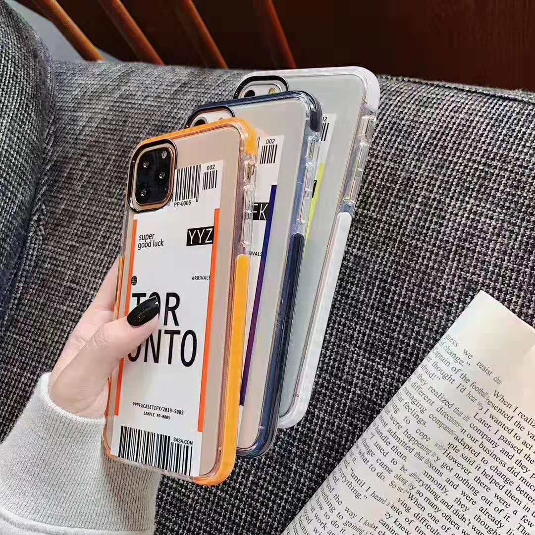 H11666a00fcc540e990328be73e133faci - Toronto New York Luxury Air Tickets Bar code Label case for iPhone 11 Pro XS Max XR 6s 7 8 Plus Los Angeles 3D Color Clear cover