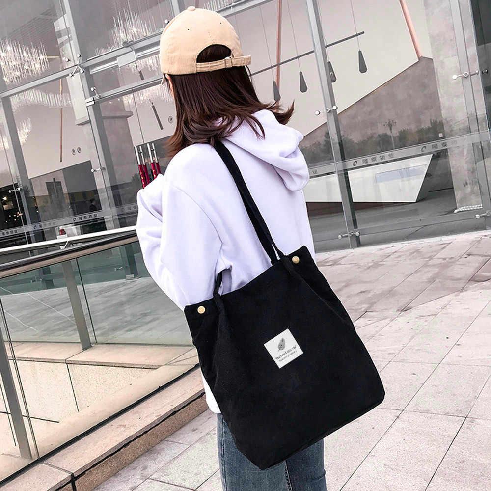 Transer bolsa de ombro feminina alta capacidade veludo tote senhoras saco de mão pura dobrável reutilizável compras viagem praia # yy