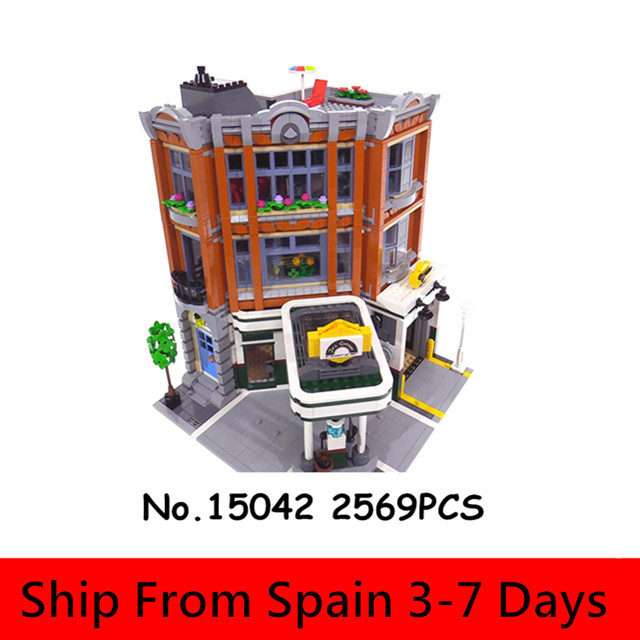 Lepinblocks 15042 City Streets Town King Creator Town House Garage Building Blocks Model Architecture Expert Toys Christmas Gift