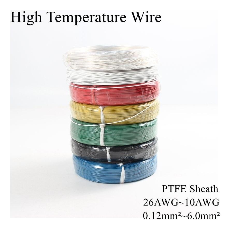 26AWG ~ 10AWG 0,12 мм ~ 6 мм квадратный высокотемпературный провод PTFE изоляционный кабель устойчив к луженым Оловянным посеребренным медным провода...