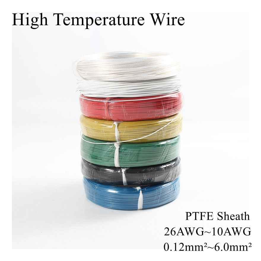 26AWG ~ 10AWG 0.12mm ~ 6mm carré haute température fil PTFE câble d'isolation résistant étamé étain argent plaqué fils de cuivre