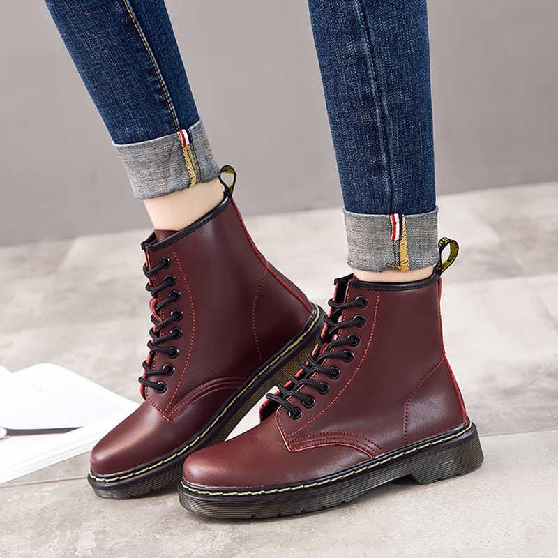 LAKESHI แท้รองเท้าหนังผู้หญิง Hot ข้อเท้ารองเท้าฤดูใบไม้ร่วงฤดูหนาวรองเท้าผู้หญิงคู่รถจักรยานยนต์รองเท้าผู้หญิงข้อเท้ารองเท้า
