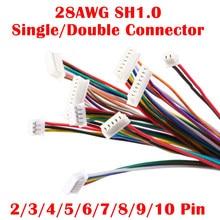 10 pces sh 1.0 conector de cabo de fio diy sh1.0 jst 2/3/4/5/6/7/8/9/10 pinos linha eletrônica única conectar plugue terminal 28awg 10cm