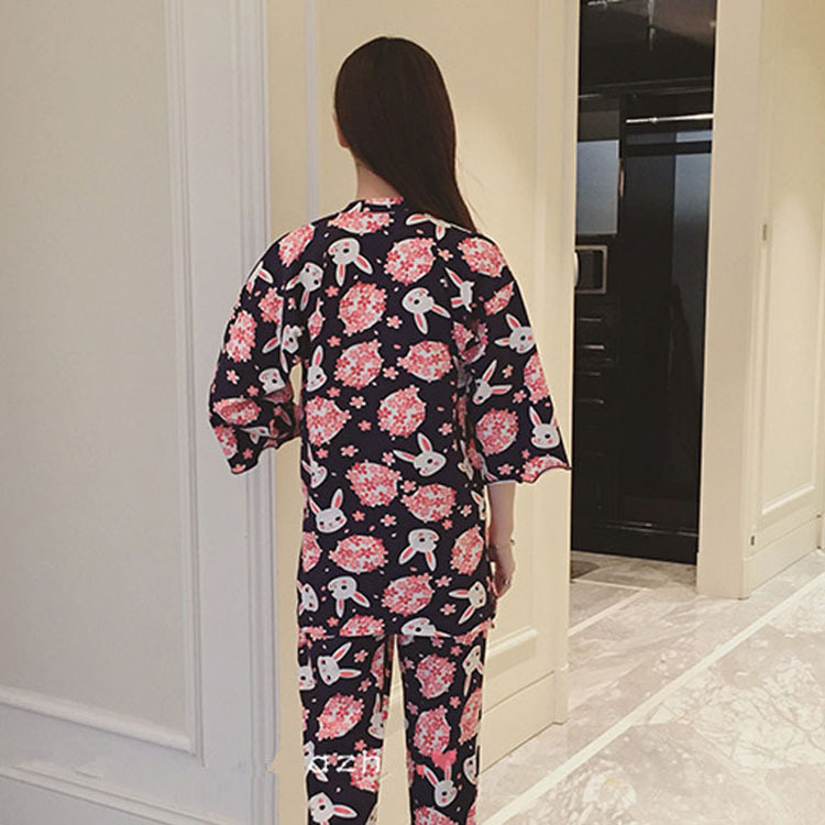 Autumn & Winter Japanese-style Kimono Pajamas Cute Cherry Blossom WOMEN'S Cardigan Three-quarter-length Sleeve Pants Japanese St