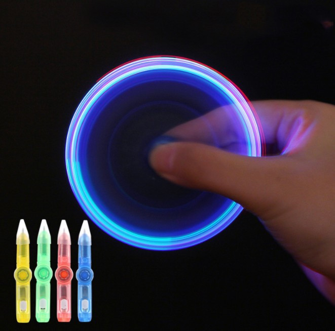 3 PCS LED Rotating Ballpoint Pen Fidget Spinner Top Hand EDC Light Glow In The Dark Toys Stress Relief Toy Kids Gift