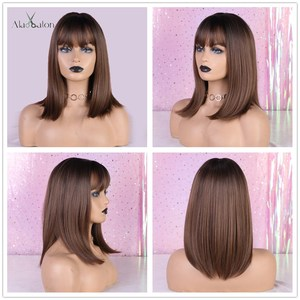 Image 5 - ALAN EATON Medium Bobo Cosplay Blonde Wigs with Bangs Woman Synthetic Hair Wigs Wavy Cute Lolita Cosplay Female Daily False Hair