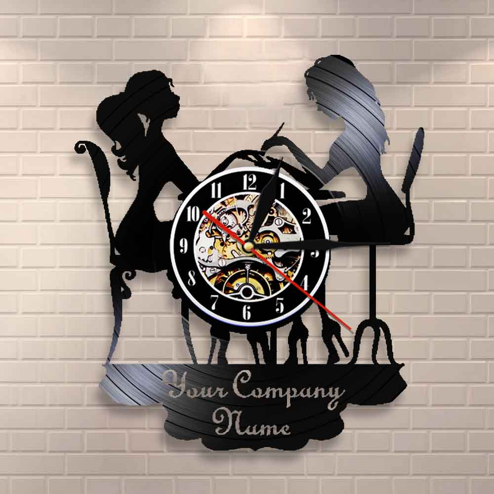Custom Spa Salon Bussiness Wall Sign Wall Decor Nail Salon Personised Your Name Vinyl Record Wall Clock Polish Fashion Art Clock