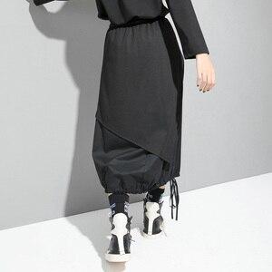 Image 4 - EAM jupe taille haute élastique noir, cordon de serrage, Joint fendu, tempérament demi corps, nouvelle mode pour femmes, printemps automne 2020 1D732