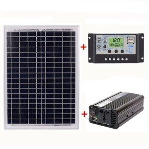 HTHL-18V20W солнечная панель + 12 В/24 В контроллер + 1500 Вт Инвертор Ac220V комплект, подходит для наружного и домашнего использования Ac220V Солнечная эне...