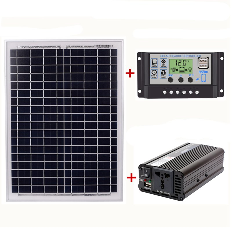 HTHL-18V20W Solar Panel +12V / 24V Controller + 1500W Inverter Ac220V Kit, Suitable For Outdoor And Home Ac220V Solar Energy-Sav
