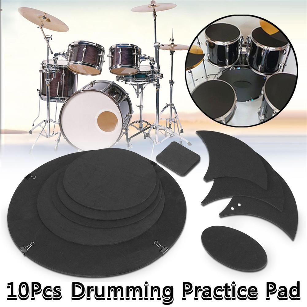 10Pcs/set Rubber Foam Bass Snare Drum Sound Off Quiet Mute Silencer Practice Pad Rubber Acoustic Pad